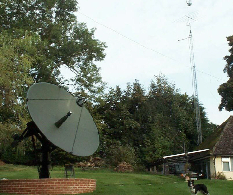 The 3.7 Metre dish at G4NNS, with 17 metre mast in the background.